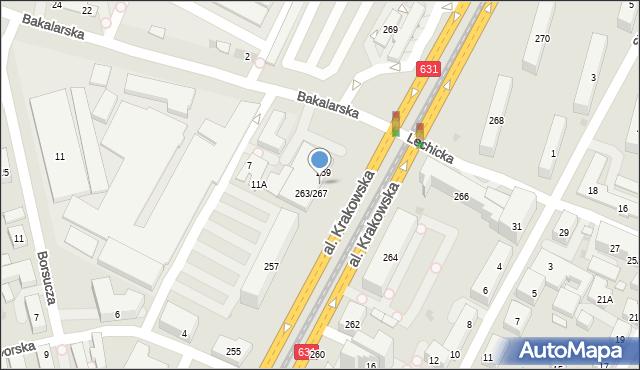 Warszawa, Aleja Krakowska, 263, mapa Warszawy