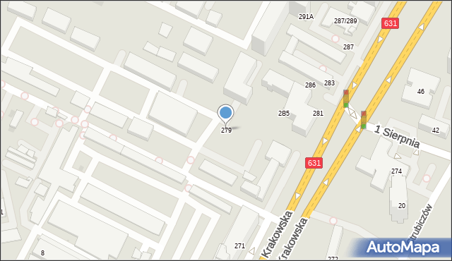 Warszawa, Aleja Krakowska, 279, mapa Warszawy