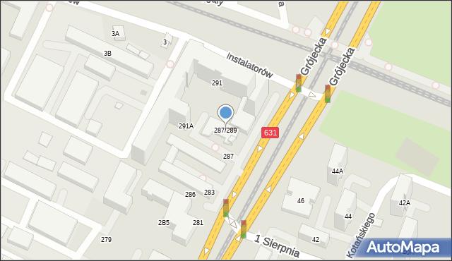 Warszawa, Aleja Krakowska, 287/289, mapa Warszawy