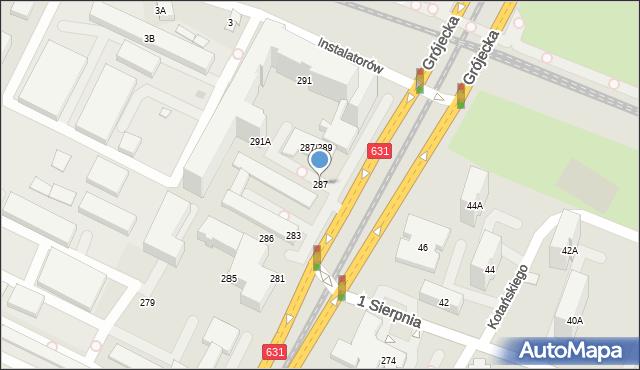 Warszawa, Aleja Krakowska, 287, mapa Warszawy