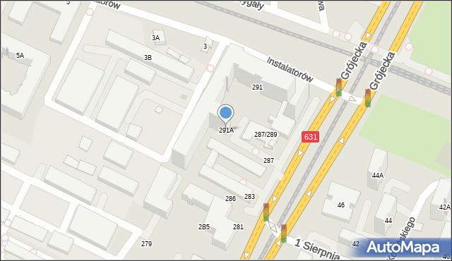 Warszawa, Aleja Krakowska, 291A, mapa Warszawy