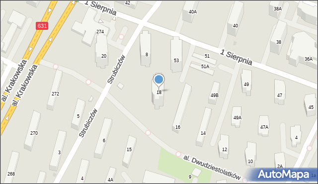 Warszawa, Aleja Dwudziestolatków, 18, mapa Warszawy