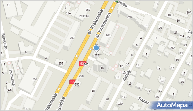 Warszawa, Aleja Krakowska, 262, mapa Warszawy