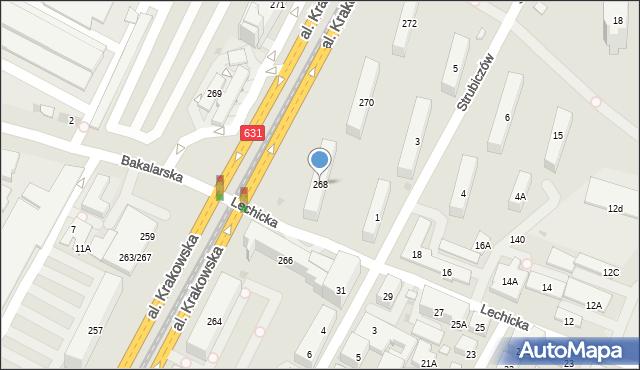 Warszawa, Aleja Krakowska, 268, mapa Warszawy