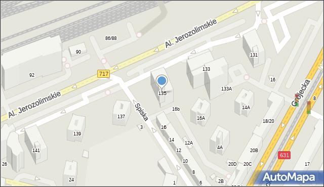 Warszawa, Aleje Jerozolimskie, 135, mapa Warszawy