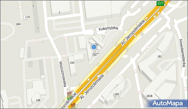Warszawa, Aleje Jerozolimskie, 152, mapa Warszawy