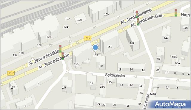 Warszawa, Aleje Jerozolimskie, 153, mapa Warszawy