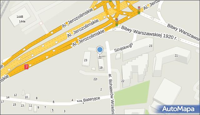 Warszawa, Aleja Bohaterów Września, 21, mapa Warszawy