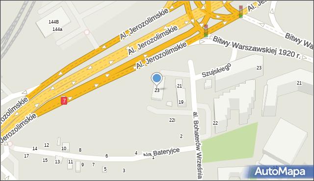 Warszawa, Aleja Bohaterów Września, 23, mapa Warszawy