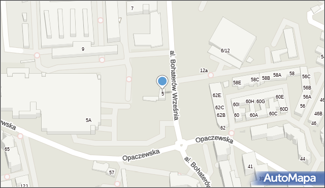 Warszawa, Aleja Bohaterów Września, 5, mapa Warszawy