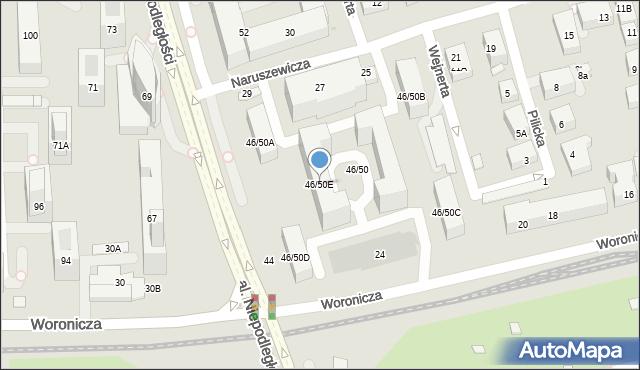 Warszawa, Aleja Niepodległości, 46/50E, mapa Warszawy