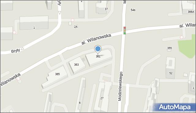Warszawa, Aleja Wilanowska, 361, mapa Warszawy
