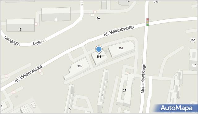 Warszawa, Aleja Wilanowska, 363, mapa Warszawy
