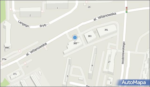 Warszawa, Aleja Wilanowska, 365, mapa Warszawy