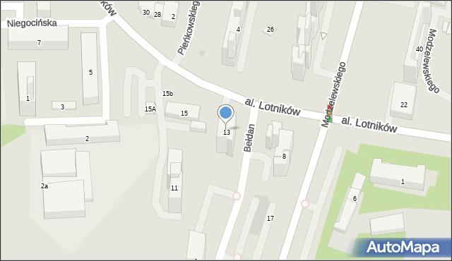Warszawa, Aleja Lotników, 13, mapa Warszawy
