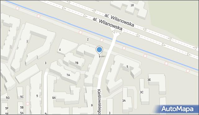 Warszawa, Aleja Wilanowska, 7, mapa Warszawy