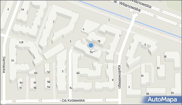 Warszawa, Aleja Wilanowska, 7A, mapa Warszawy