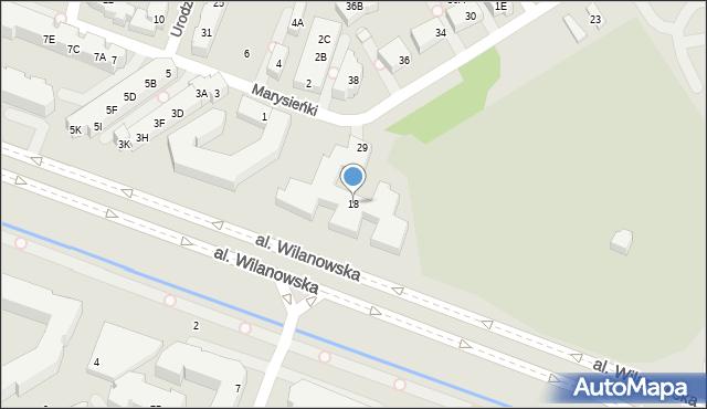 Warszawa, Aleja Wilanowska, 18, mapa Warszawy