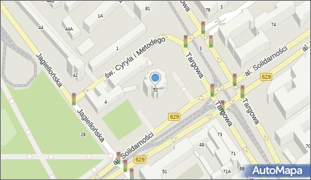 Warszawa, Aleja Solidarności, 52, mapa Warszawy