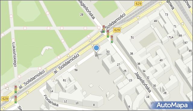 Warszawa, Aleja Solidarności, 55, mapa Warszawy