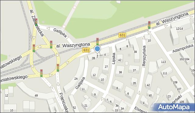 Warszawa, Aleja Waszyngtona Jerzego, 2, mapa Warszawy