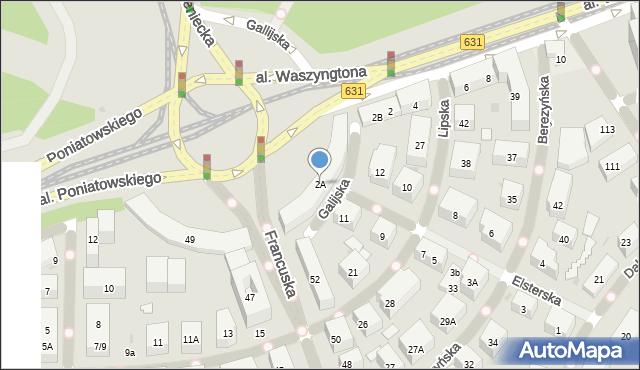 Warszawa, Aleja Waszyngtona Jerzego, 2A, mapa Warszawy