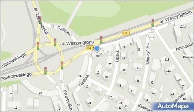 Warszawa, Aleja Waszyngtona Jerzego, 2B, mapa Warszawy