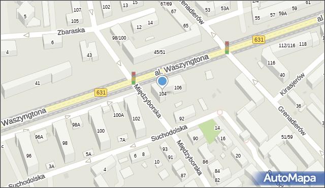 Warszawa, Aleja Waszyngtona Jerzego, 104, mapa Warszawy