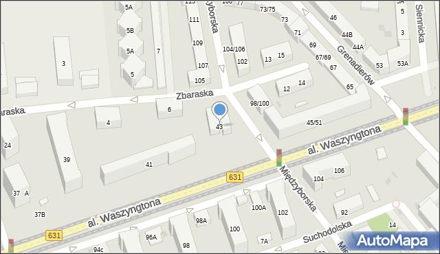Warszawa, Aleja Waszyngtona Jerzego, 43, mapa Warszawy