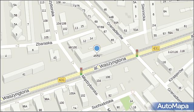 Warszawa, Aleja Waszyngtona Jerzego, 45/51, mapa Warszawy