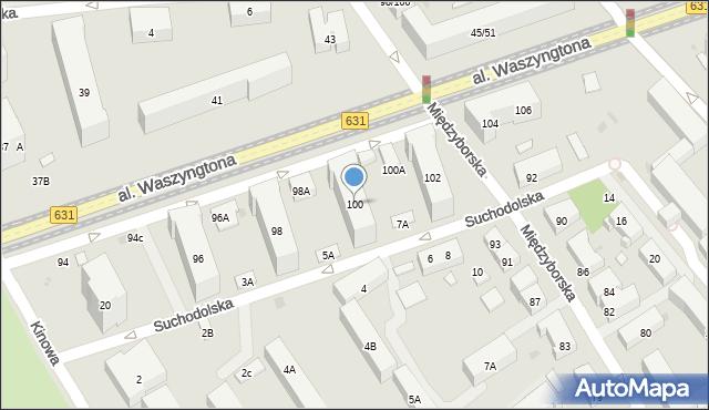 Warszawa, Aleja Waszyngtona Jerzego, 100, mapa Warszawy