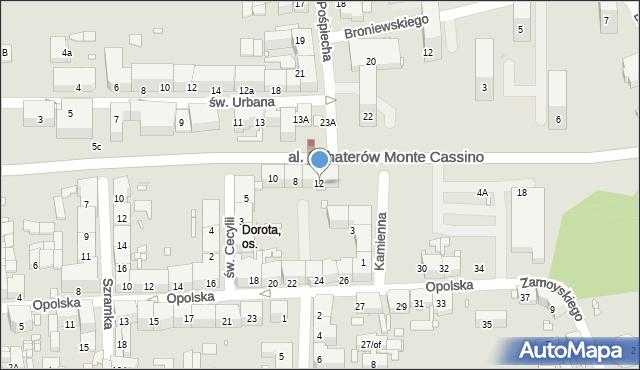 Zabrze, Aleja Bohaterów Monte Cassino, 12, mapa Zabrza