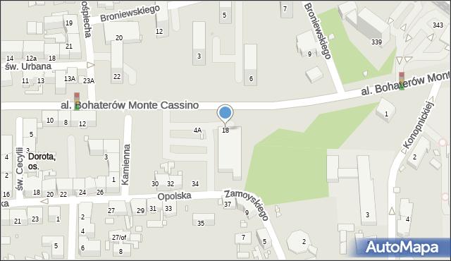 Zabrze, Aleja Bohaterów Monte Cassino, 18, mapa Zabrza