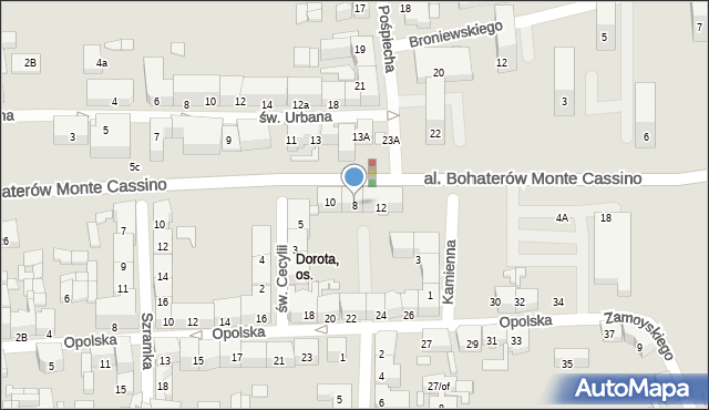 Zabrze, Aleja Bohaterów Monte Cassino, 8, mapa Zabrza