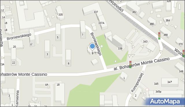 Zabrze, Aleja Bohaterów Monte Cassino, 9, mapa Zabrza