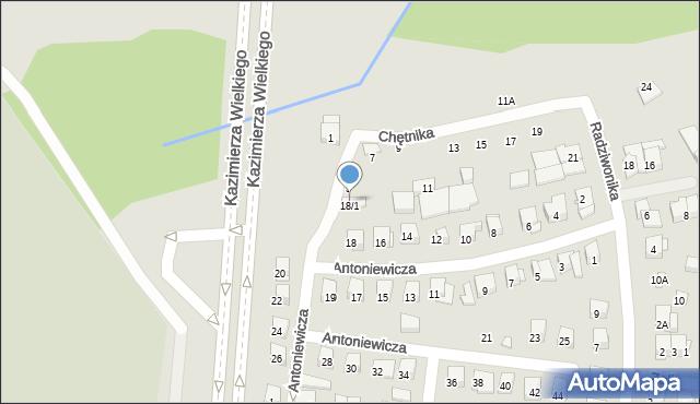 Białystok, Antoniewicza Jerzego, 18/1, mapa Białegostoku