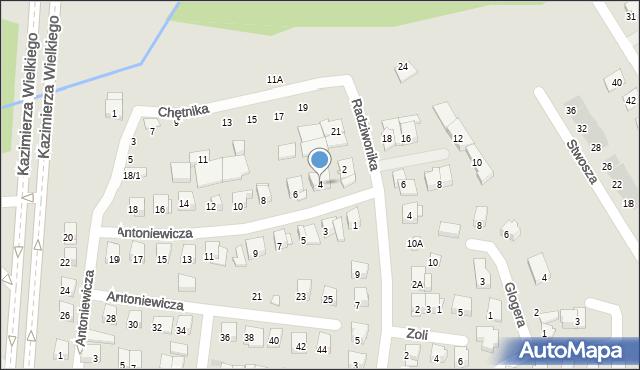 Białystok, Antoniewicza Jerzego, 4, mapa Białegostoku