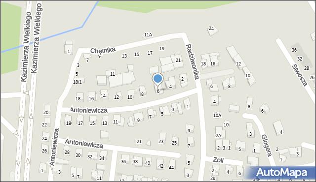 Białystok, Antoniewicza Jerzego, 6, mapa Białegostoku