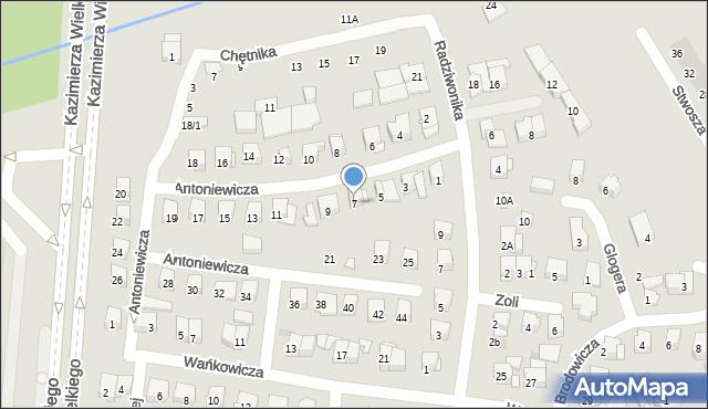 Białystok, Antoniewicza Jerzego, 7, mapa Białegostoku