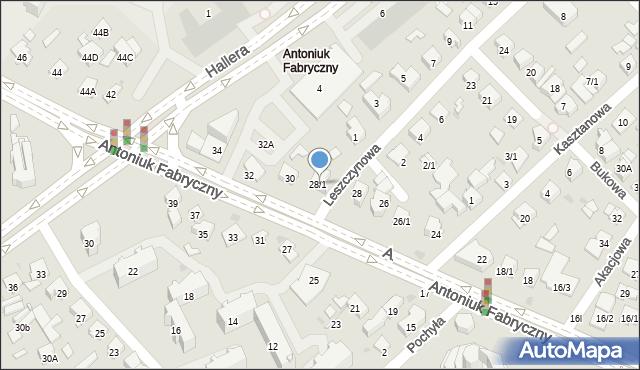 Białystok, Antoniuk Fabryczny, 28/1, mapa Białegostoku