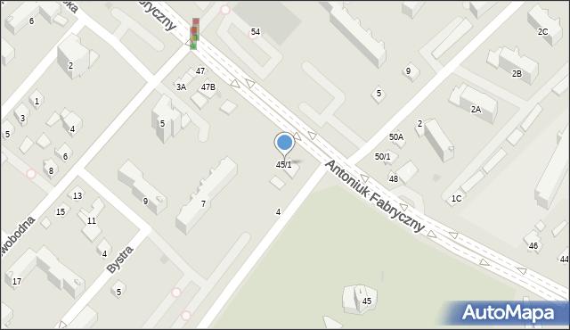 Białystok, Antoniuk Fabryczny, 45/1, mapa Białegostoku