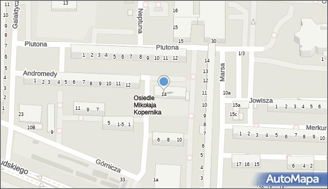 Legnica, Andromedy, 14, mapa Legnicy