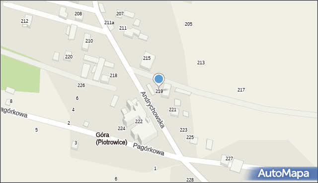 Piotrowice, Andrychowska, 219, mapa Piotrowice