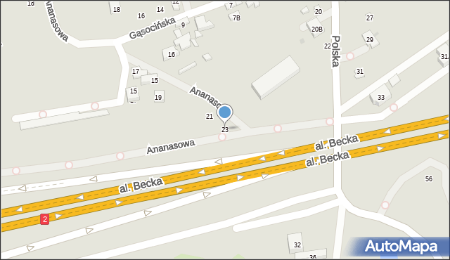 Warszawa, Ananasowa, 23, mapa Warszawy