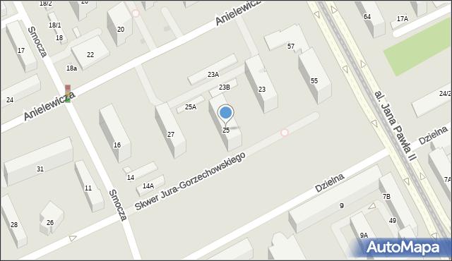 Warszawa, Anielewicza Mordechaja, 25, mapa Warszawy