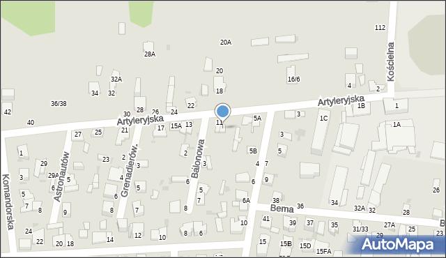 Częstochowa, Artyleryjska, 9, mapa Częstochowy