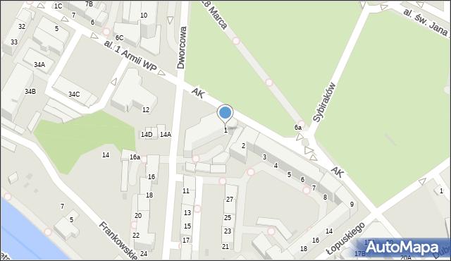 Kołobrzeg, Armii Krajowej, 1, mapa Kołobrzegu