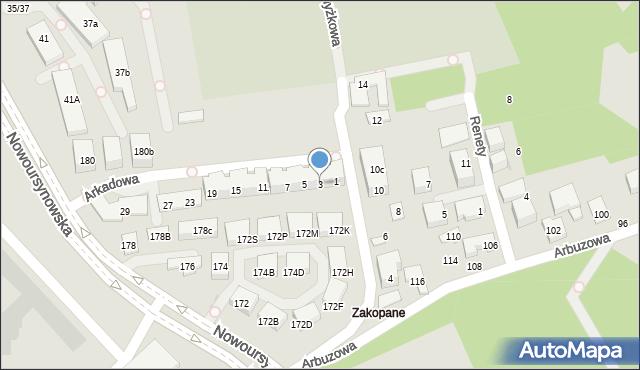 Warszawa, Arkadowa, 3, mapa Warszawy