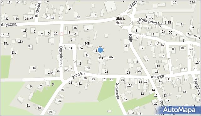 Jaworzno, Asnyka Adama, 30A, mapa Jaworzno