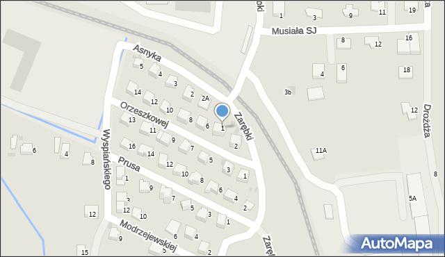 Limanowa, Asnyka Adama, 1, mapa Limanowa